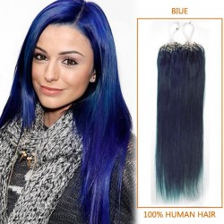 18 Inch Blue Micro Loop Human Hair Extensions 100S 100g