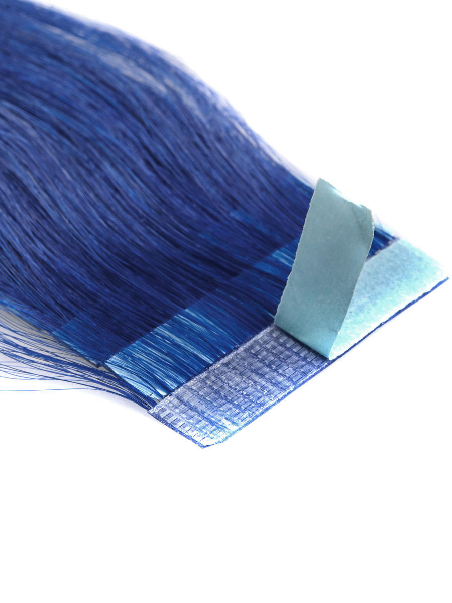 18 Inch Blue Simple Tape In Hair Extensions Straight 10pcs no 1