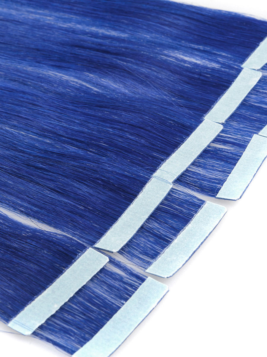 18 Inch Blue Simple Tape In Hair Extensions Straight 10pcs no 2