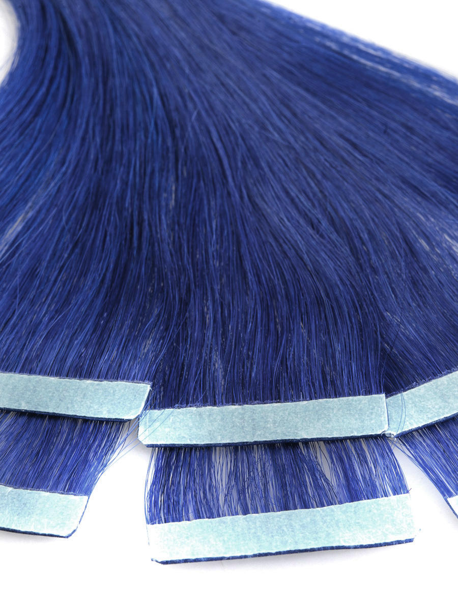 18 Inch Blue Simple Tape In Hair Extensions Straight 10pcs no 3