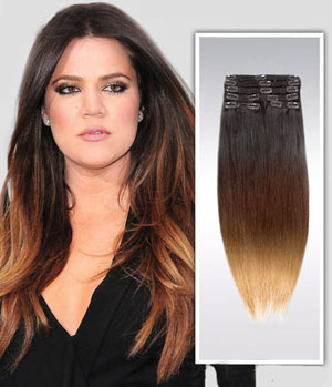 18 Inch Bright Ombre Clip In Indian Remy Hair Extensions Straight 9pcs