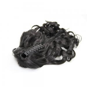 18 Inch Claw Clip Supple Human Hair Ponytail Curly #1B Natural Black
