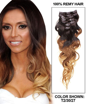 18 Inch Clean Ombre Clip In Hair Extensions Three Tone Body Wave 9 Pieces