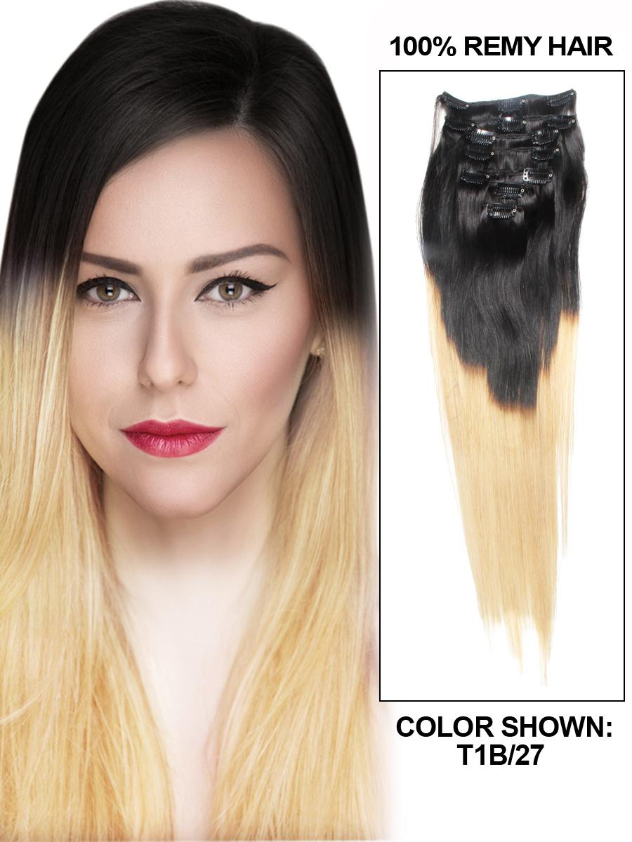 18 Inch Graceful Ombre Hair Clip In Remy Human Hair Extensions Two