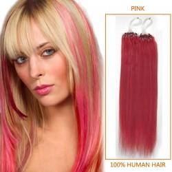 18 Inch Pink Micro Loop Human Hair Extensions 100S
