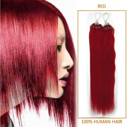 18 Inch Red Micro Loop Human Hair Extensions 100S