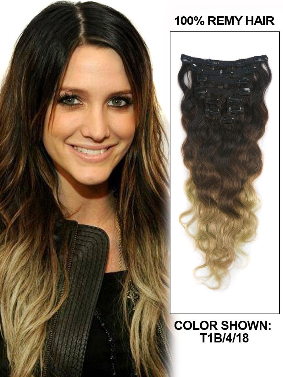 18 Inch Trendy Three Colors Ombre Indian Remy Clip In Hair