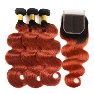 1B/350 Color Ombre Human Hair 3 Bundles With Closure Body Wave Weave