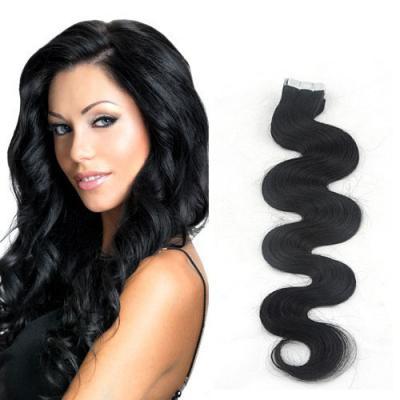 20 Inch #1 Jet Black Elegant Tape In Hair Extensions Body Wave 20 Pcs