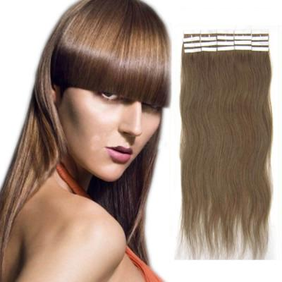 20 Inch #12 Golden Brown Tape In Human Hair Extensions 20pcs