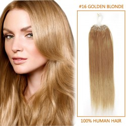 20 Inch #16 Golden Blonde Micro Loop Human Hair Extensions 100S
