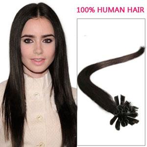 20 Inch 100s Different Straight Nail/U Tip Human Hair Extensions #2 Darkest Brown 50g