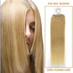 20 Inch #24 Ash Blonde Micro Loop Human Hair Extensions 100S