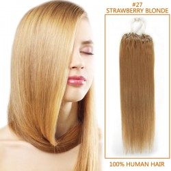 20 Inch #27 Strawberry Blonde Micro Loop Human Hair Extensions 100S