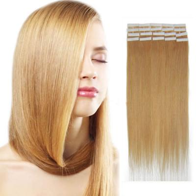 20 Inch #27 Strawberry Blonde Tape In Human Hair Extensions 20pcs