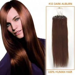 20 Inch #33 Dark Auburn Micro Loop Human Hair Extensions 100S