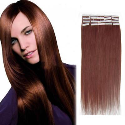20 Inch #33 Dark Auburn Tape In Human Hair Extensions 20pcs