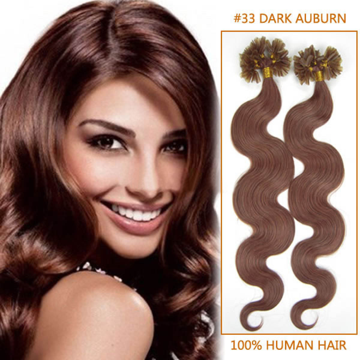 20 Inch 33 Rich Copper Red Wavy Nail U Tip Fusion Hair Extensions