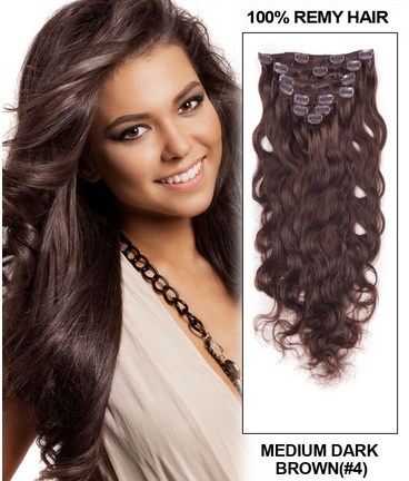 20 Inch #4 Medium Brown Clip In Splendid Indian Remy Human Hair Extensions Body Wave 7 Pcs