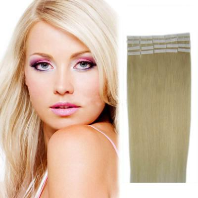 20 Inch #60 White Blonde Tape In Human Hair Extensions 20pcs