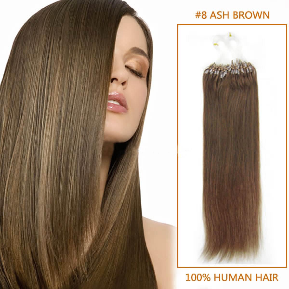 Inch 8 ash brown micro loop human hair extensions 100s 100g 20 inch 8 ash brown micro loop human hair extensions 100s 100g pmusecretfo Image collections