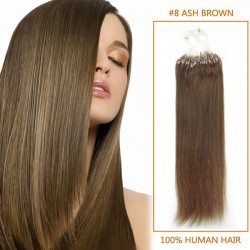 20 Inch #8 Ash Brown Micro Loop Human Hair Extensions 100S