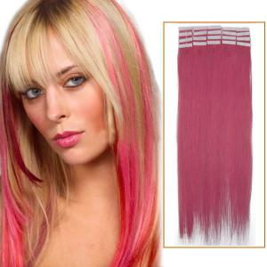 20 Inch Pink Tape In Human Hair Extensions 20pcs