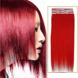 20 Inch Red Tape In Human Hair Extensions 20pcs