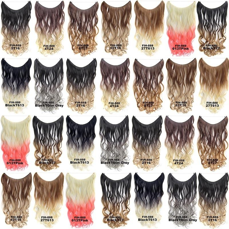 "22"" Hidden Invisible Dip Dye Ombre Wire Secret Miracle Hair Extension Body Wave 0"