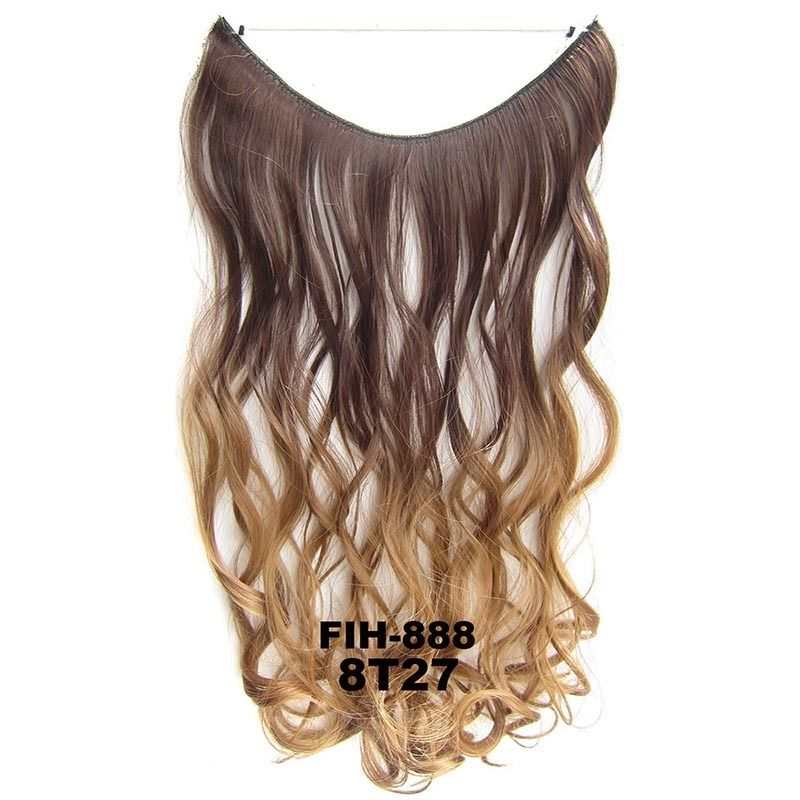 "22"" Hidden Invisible Dip Dye Ombre Wire Secret Miracle Hair Extension Body Wave 6"