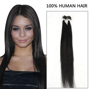 22 Inch 100s Trendy Straight Nail/U Tip Human Hair Extensions #1 Jet Black 50g