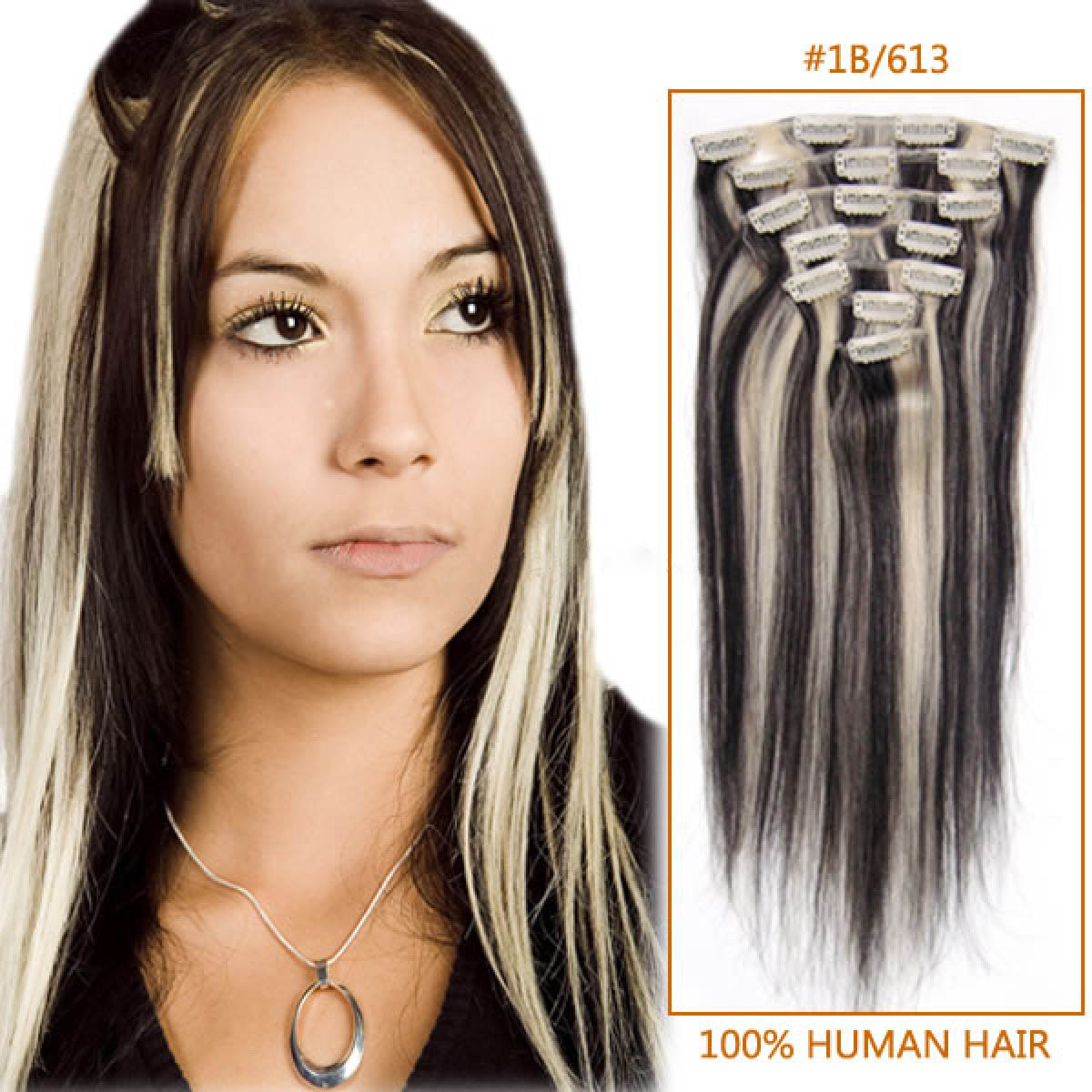 22 Inch 1b613 Clip In Remy Human Hair Extensions 7pcs