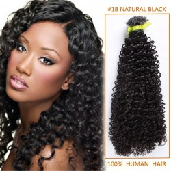 22 Inch #1b Natural Black Afro Curl Indian Remy Hair Wefts
