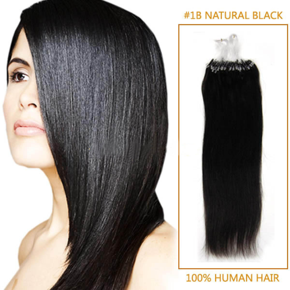22 Inch 1b Natural Black Micro Loop Human Hair Extensions 100s