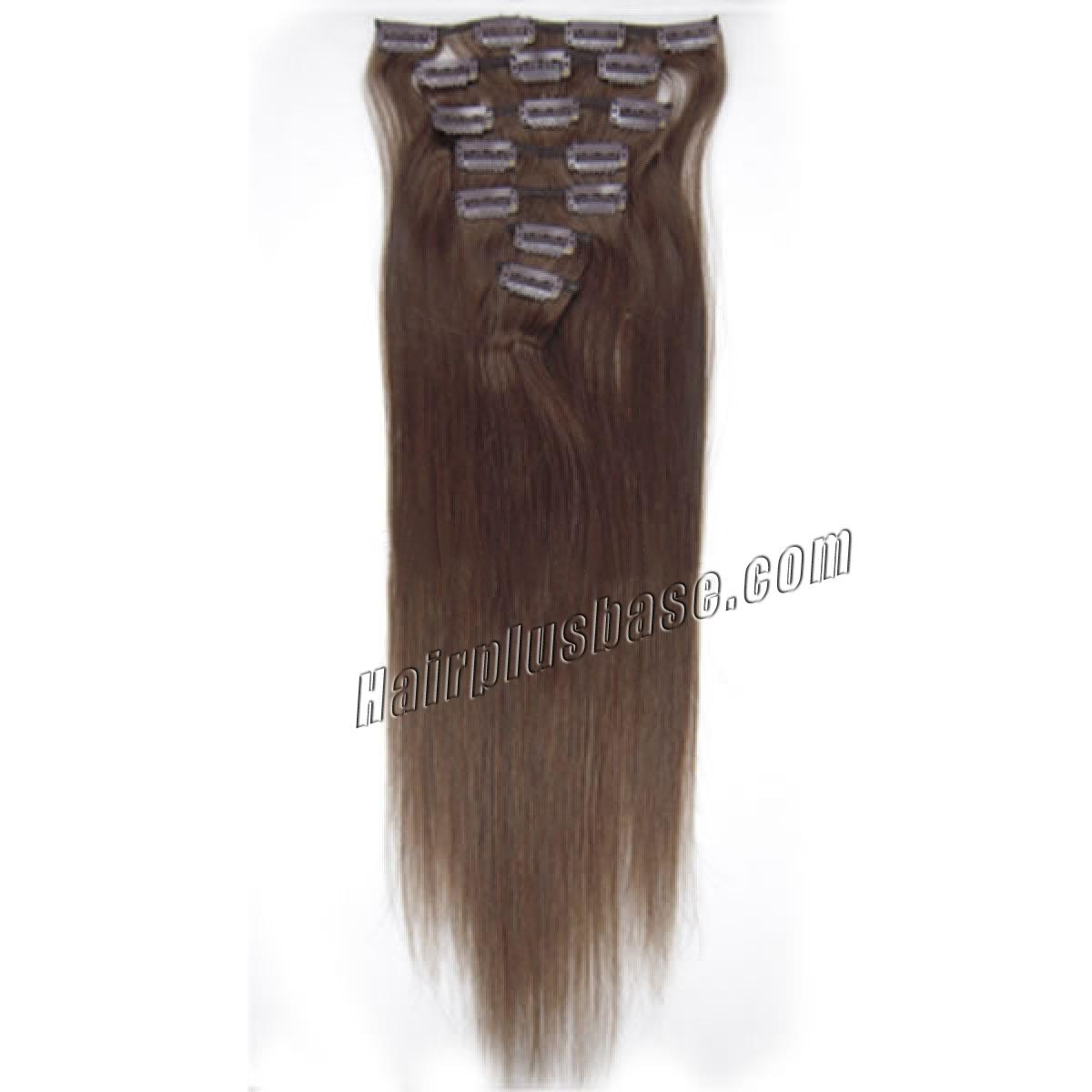 22 Inch #4 Medium Brown Clip In Remy Human Hair Extensions 7pcs no 2
