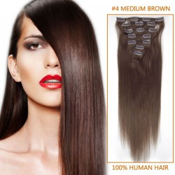 22 Inch #4 Medium Brown Clip In Remy Human Hair Extensions 7pcs