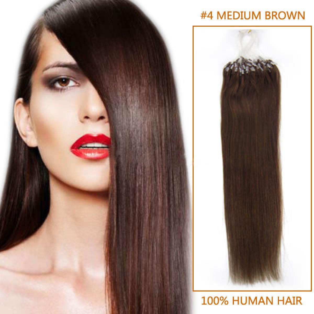 22 Inch 4 Medium Brown Micro Loop Human Hair Extensions 100s