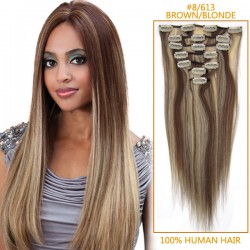 22 Inch #8/613 Brown/Blonde Clip In Remy Human Hair Extensions 7pcs