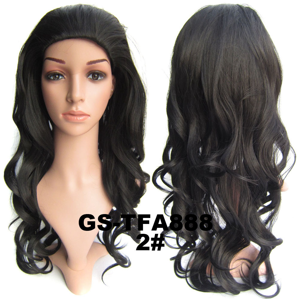 22 Inch Amazing Curly and Long 3/4 Half Head Synthetic Hair Wigs With Comb   2#