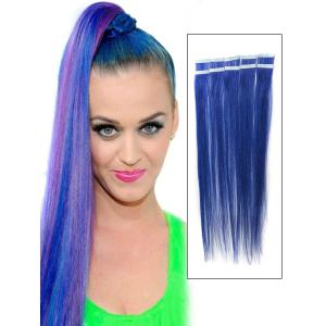 22 Inch Blue Characteristic Tape In Hair Extensions Straight 10pcs