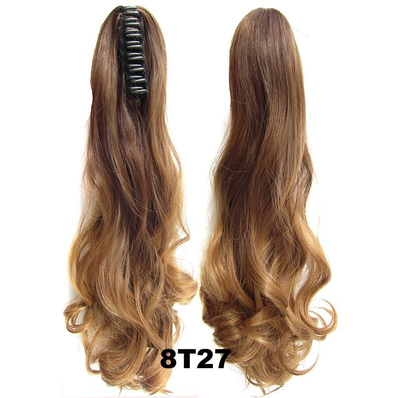 22 Inch Dip Dye Ombre Claw Synthetic Ponytail Body Wavy 1