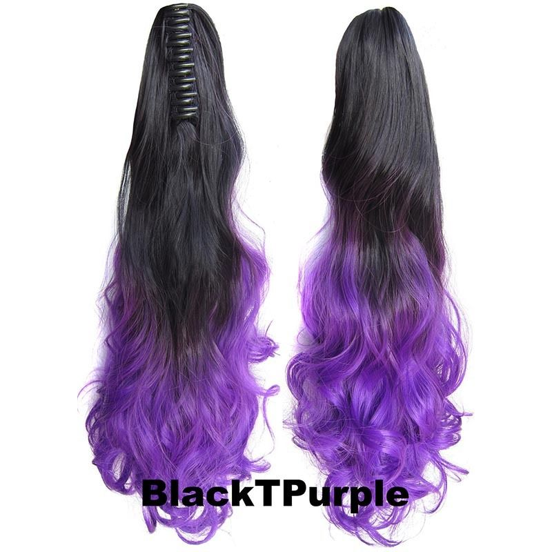 22 Inch Dip Dye Ombre Claw Synthetic Ponytail Body Wavy 10