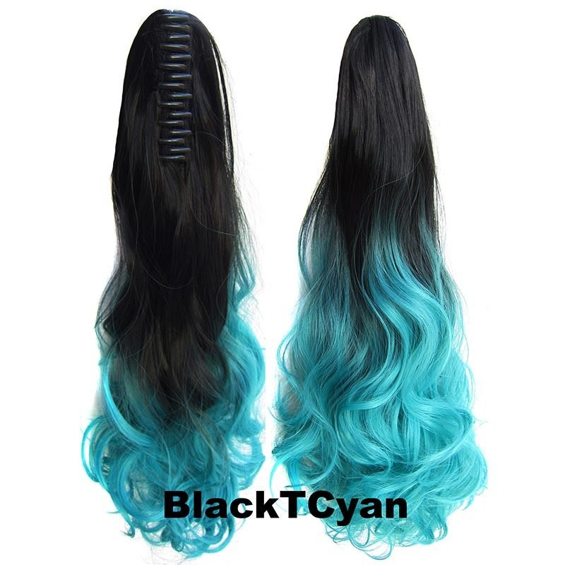 22 Inch Dip Dye Ombre Claw Synthetic Ponytail Body Wavy 11
