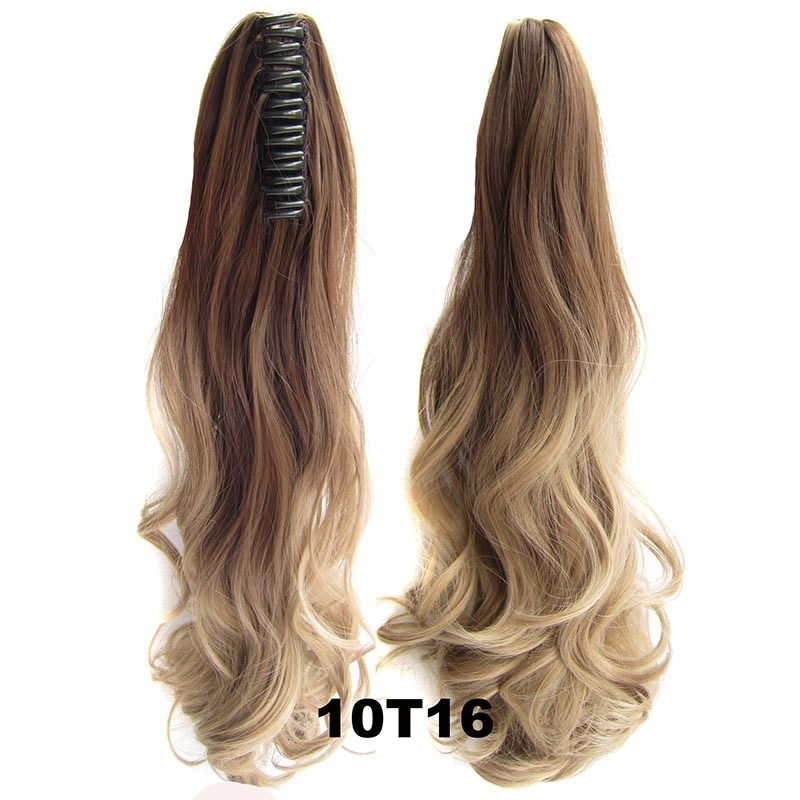 22 Inch Dip Dye Ombre Claw Synthetic Ponytail Body Wavy 12