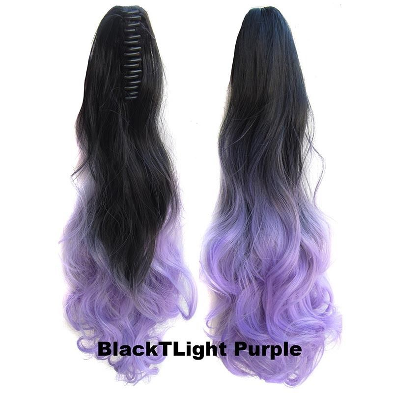 22 Inch Dip Dye Ombre Claw Synthetic Ponytail Body Wavy 13