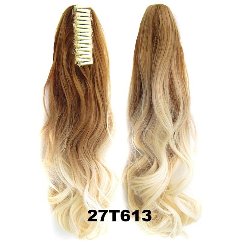 22 Inch Dip Dye Ombre Claw Synthetic Ponytail Body Wavy 14