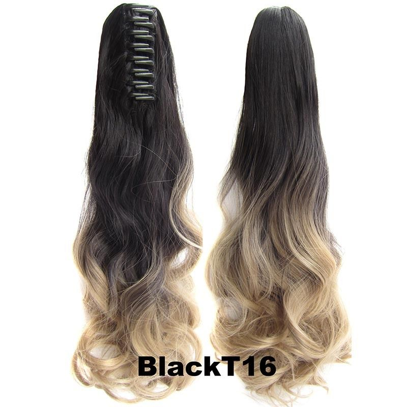 22 Inch Dip Dye Ombre Claw Synthetic Ponytail Body Wavy 15
