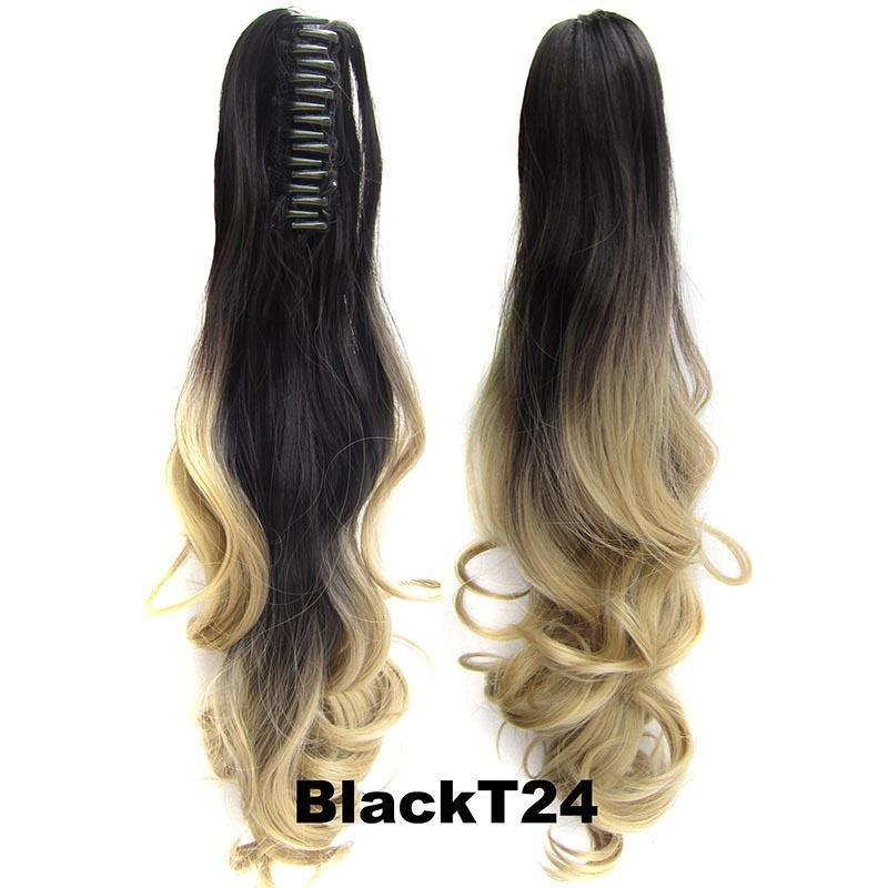 22 Inch Dip Dye Ombre Claw Synthetic Ponytail Body Wavy 16