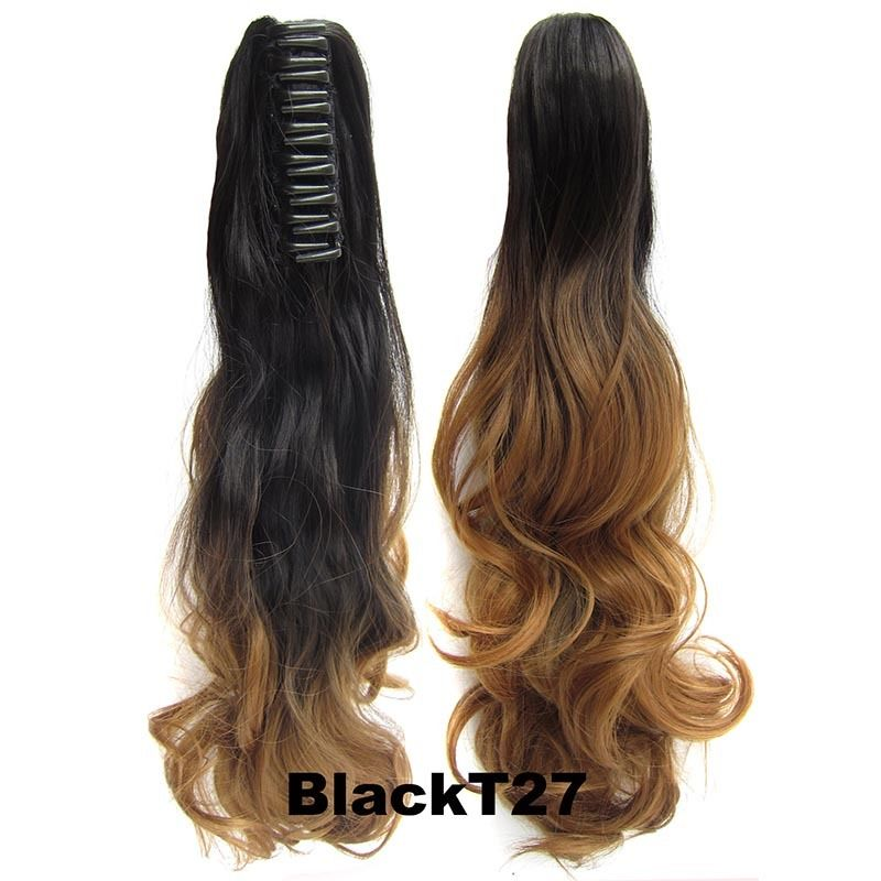 22 Inch Dip Dye Ombre Claw Synthetic Ponytail Body Wavy 17