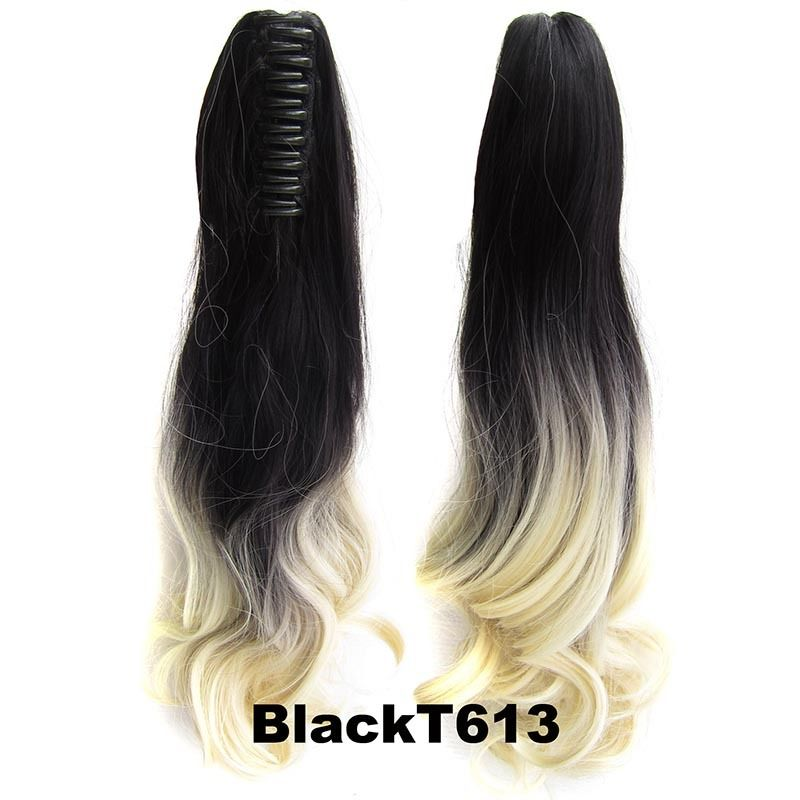 22 Inch Dip Dye Ombre Claw Synthetic Ponytail Body Wavy 18